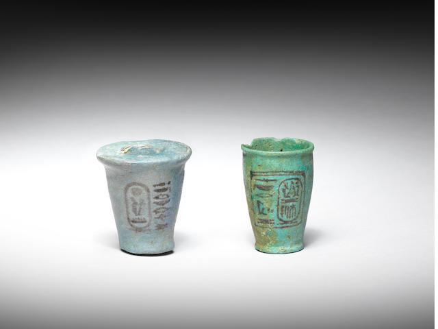 Two Egyptian glazed composition offering cups 2