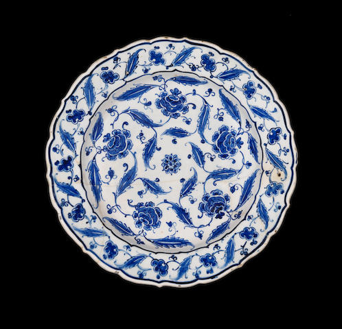 A fine Iznik blue and white pottery Dish Turkey, circa 1570