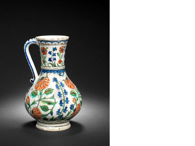 An Iznik polychrome pottery Jug Turkey, circa 1575