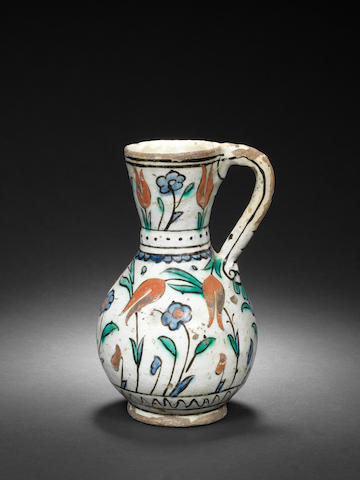 An Iznik polychrome pottery Jug Turkey, circa 1630