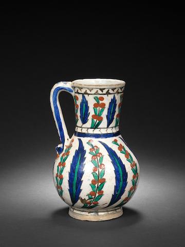 An Iznik polychrome pottery Jug Turkey, circa 1650
