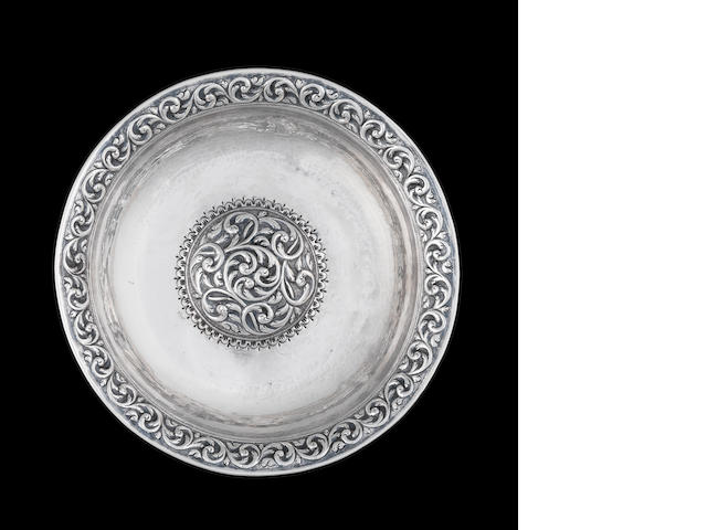 An Ottoman repoussé silver Bowl Turkey, dated AH 1241/ AD 1825