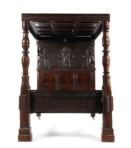 A 17th century joined oak tester bed Dated 1615, possibly Salisbury