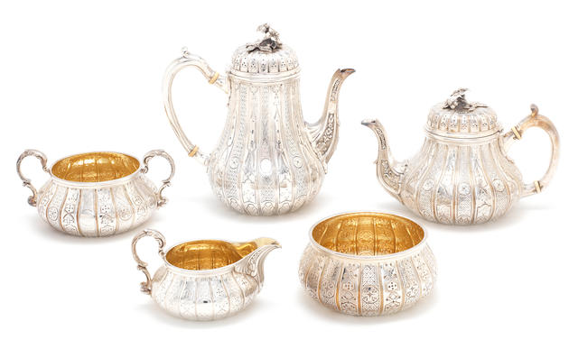 A five piece tea and coffee set. Ambercombie pattern