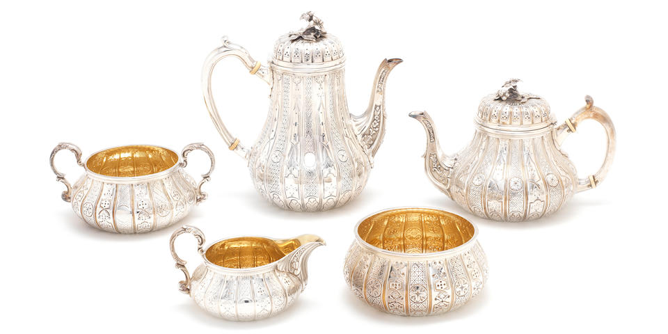 A Victorian Abercrombie pattern silver four-piece silver tea and coffee service, by Robert Garrard, London 1839, together with a later matched American sugar bowl, by Tiffany & Co (5)