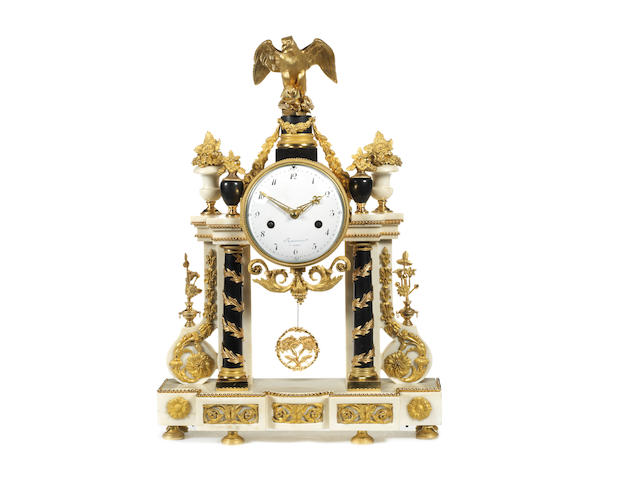 A Louis XVI gilt and patinated bronze and Carrara marble portico clock by Jean-Louis Rouviere, maitre 1781
