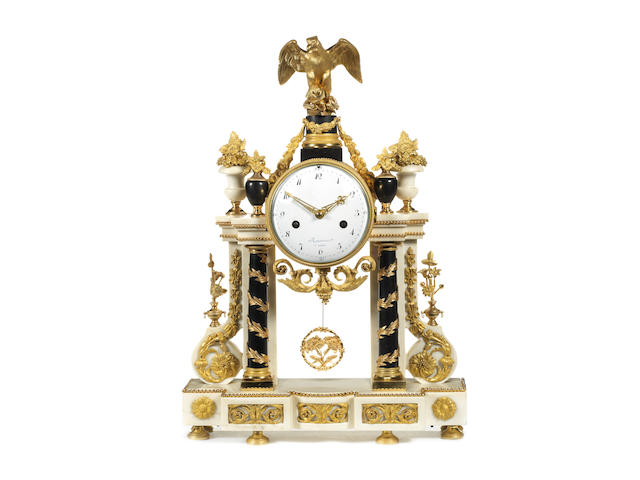 A Louis XVI gilt and patinated bronze and Carrara marble portico clockby Jean-Louis Rouviere, maitre 1781