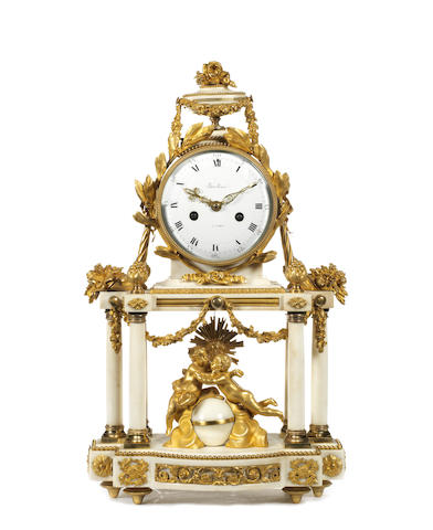 An early 19th century gilt bronze and Carrara marble figural mantel clockby Baullier, Paris