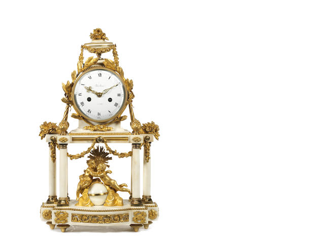 An early 19th century gilt bronze and Carrara marble figural mantel clock by Baullier, Paris