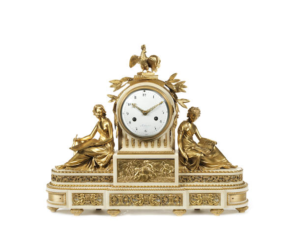 A Louis XVI gilt bronze and Carrara marble figural mantel clock by Jean-Nicolas Schmit, Paris, Maitre 1781,