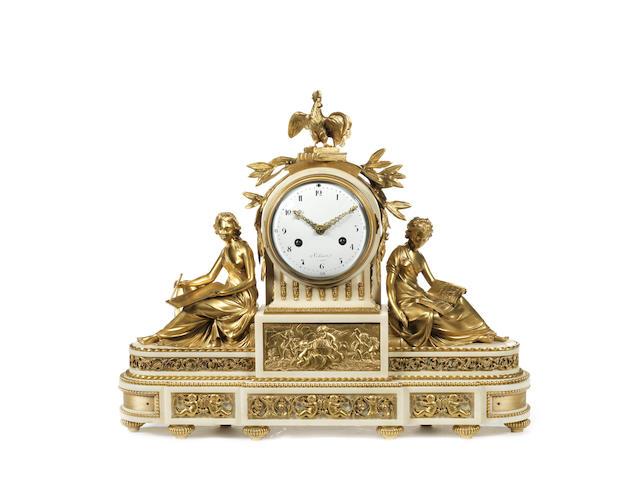 A Louis XVI gilt bronze and Carrara marble figural mantel clockby Jean-Nicolas Schmit, Paris, Maitre 1781,