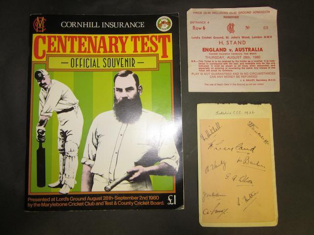 1936 Yorkshire C.C.C. autographs