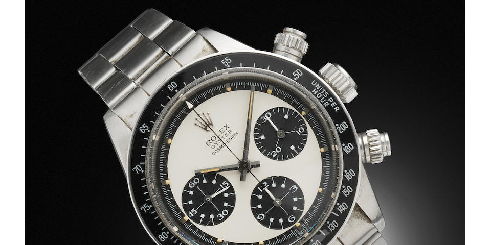 Rolex. A very fine and rare stainless steel manual wind chronograph bracelet watch 'Paul Newman' Oyster Cosmograph daytona, Ref: 6263, Serial No. 3048219, 1970's (1971?)