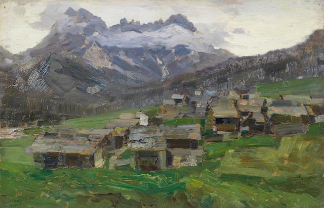 Guglielmo Ciardi (Italian, 1842-1917) Conca di Sappada con le Terze