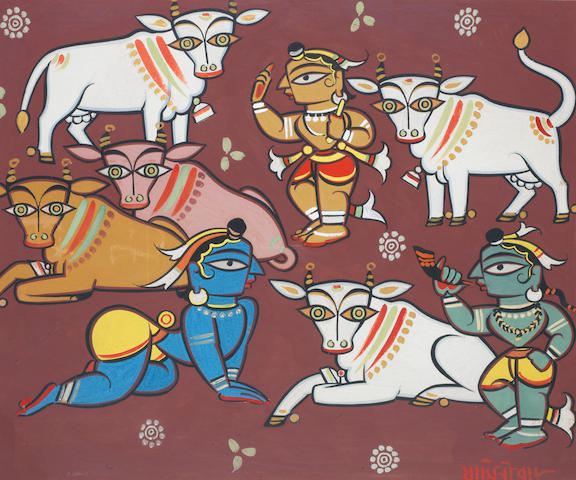 Jamini Roy (India, 1887-1972) Deities and Cows, tempera on card, signed in Bengali lower right, framed,