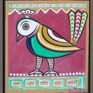 Jamini Roy (India, 1887-1972) Peacock, tempera on card, signed lower right, framed,