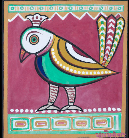 Jamini Roy (India, 1887-1972) Peacock, tempera on card, signed in Bengali lower right, framed,