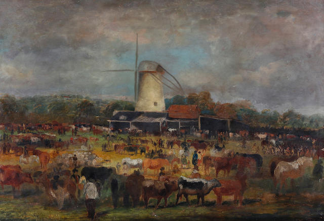 British School, circa 1870 A country livestock fair or auction market