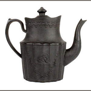 A black basalt coffee pot and cover by John Moseley, circa 1800-20