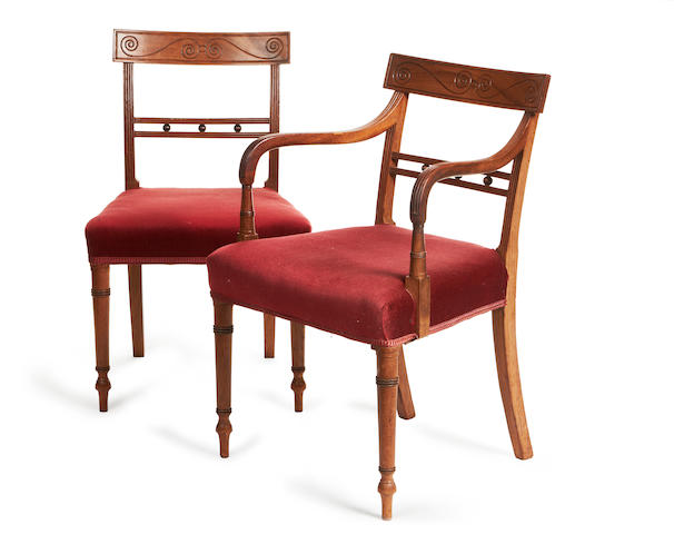 A set of 8 Regency mahogany dining chairs