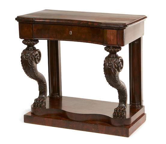 A William IV rosewood console table,