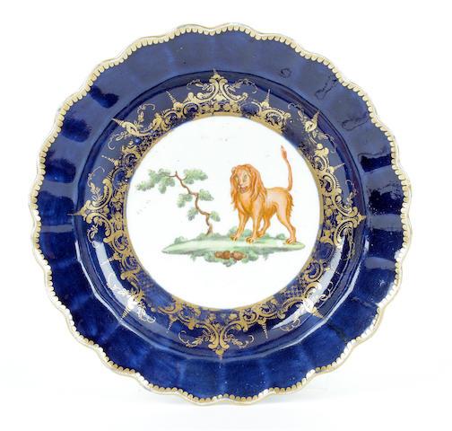 A rare Worcester plate, circa 1770