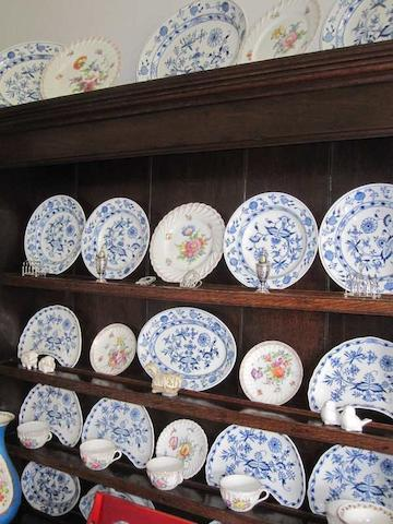 An early 20th Century Meissen part dinner service, onion pattern ,