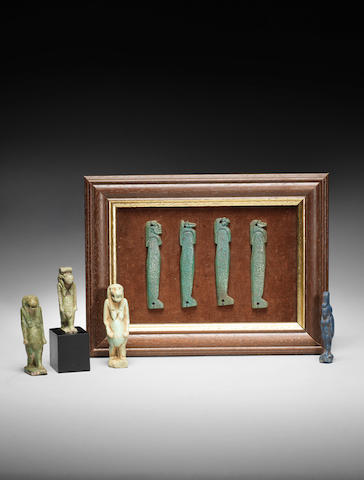 Eight Egyptian glazed composition amulets 8