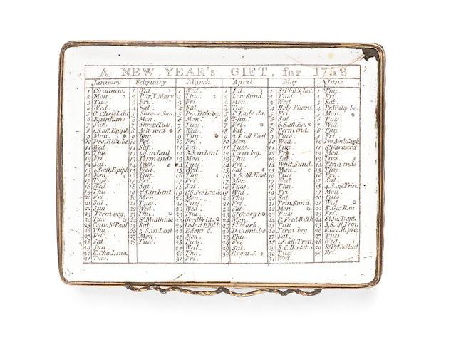 A rare London enamel Almanac box for 1758