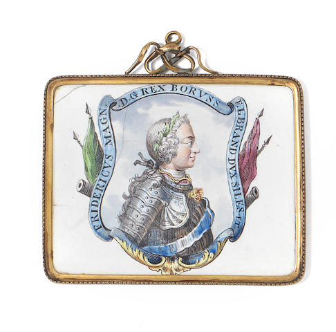 A Birmingham enamel plaque of the King of Prussia, circa 1757