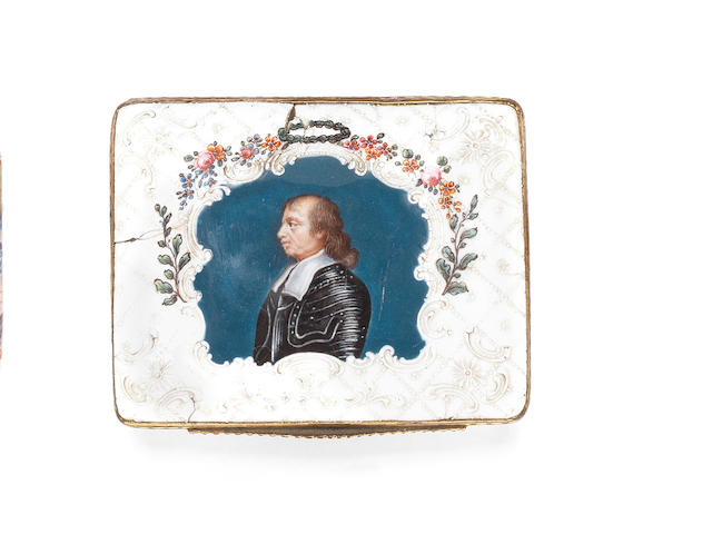 A South Staffordshire enamel snuff box, circa 1760-70