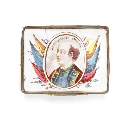 A South Staffordshire enamel snuff box, circa 1760-65