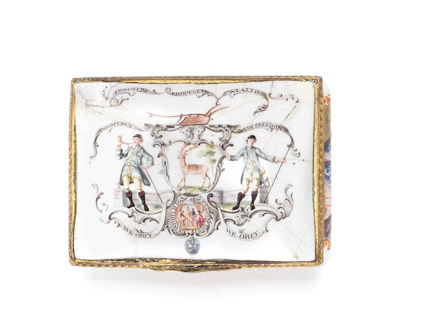 A Birmingham or South Staffordshire enamel snuff box, circa 1760