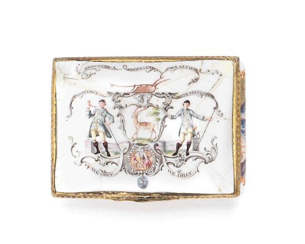 A Birmingham or South Staffordshire enamel snuff box, circa 1760