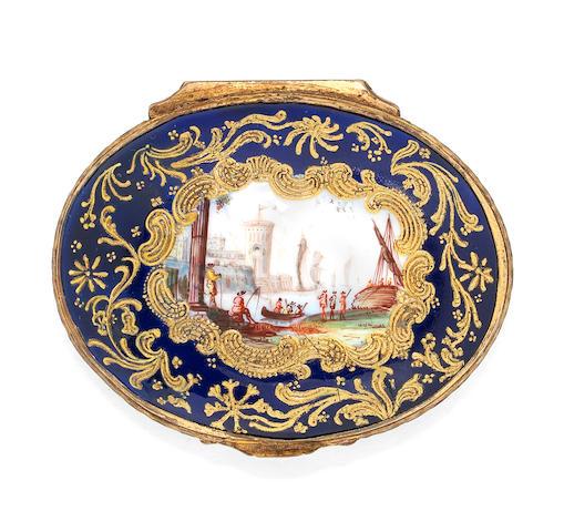 A fine Birmingham enamel box from the 'Honeysuckle Group', circa 1760-65