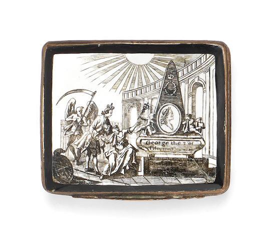 A South Staffordshire enamel mourning snuff box, circa 1760