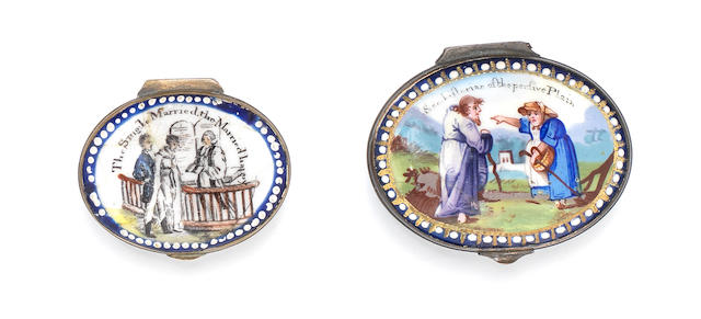 Two South Staffordshire enamel patch boxes, circa 1820