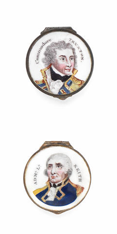 Two South Staffordshire enamel boxes and a double sided plaque, circa 1800