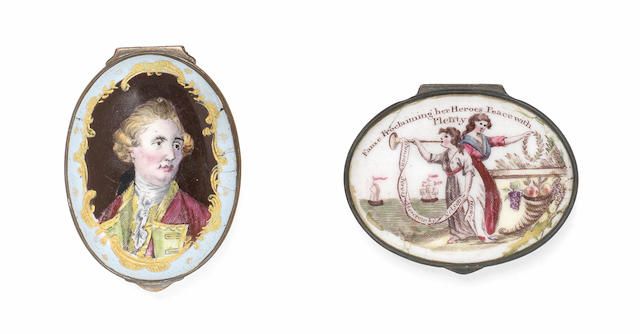 Two South Staffordshire enamel patch boxes, circa 1779 and 1810