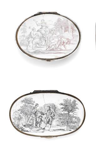 Two Birmingham enamel snuff boxes, circa 1760-1770