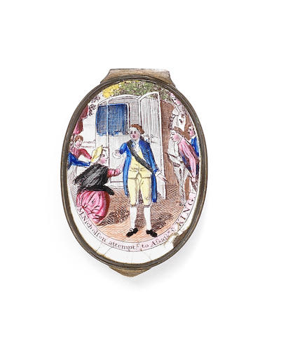 A South Staffordshire enamel patch box, circa 1786