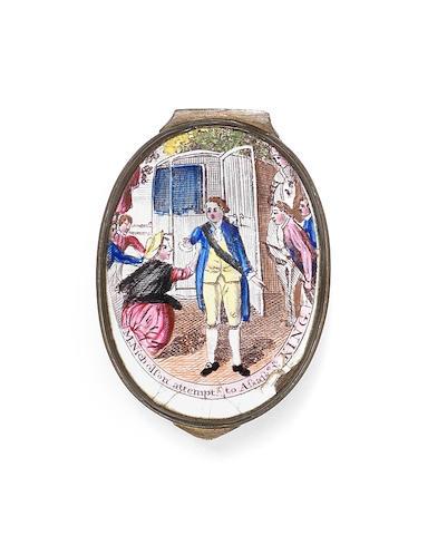 A South Staffordshire enamel patch box, circa 1786
