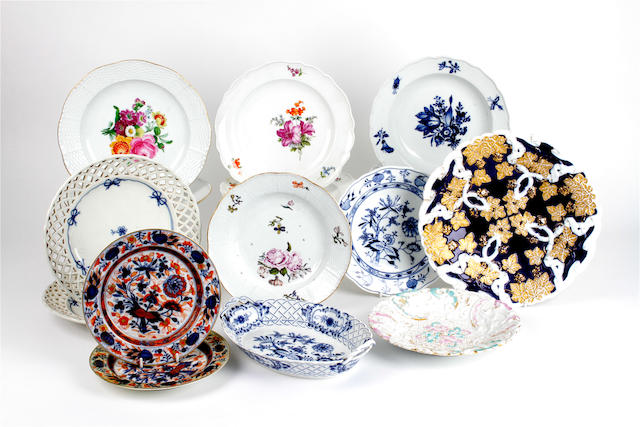 A group of Meissen and other continental porcelain plates, 19th century and later