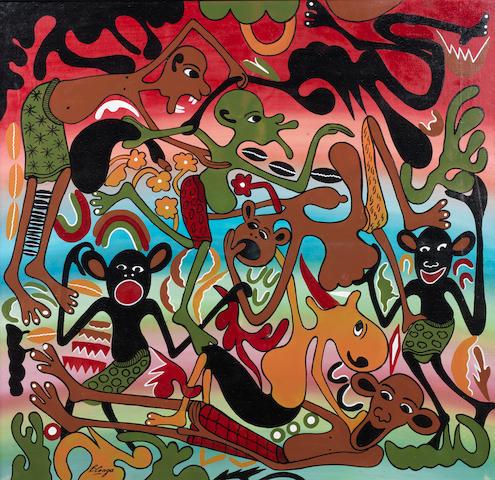 George Lilanga di Nyama (Tanzanian, 1934-2005) Busy figures