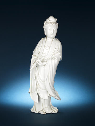 A blanc-de-Chine figure of Guanyin Puyi yuren mark, 18th century