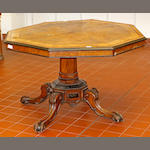 A Victorian walnut octagonal centre table