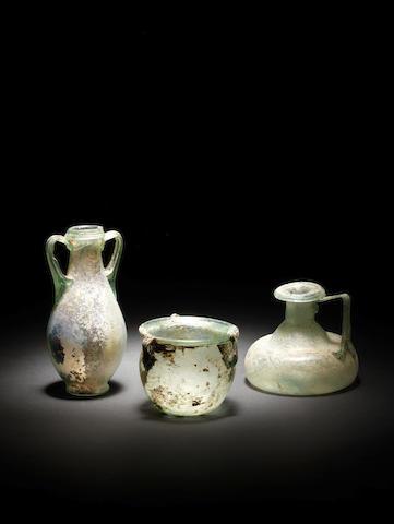 Three Roman green glass vessels  3