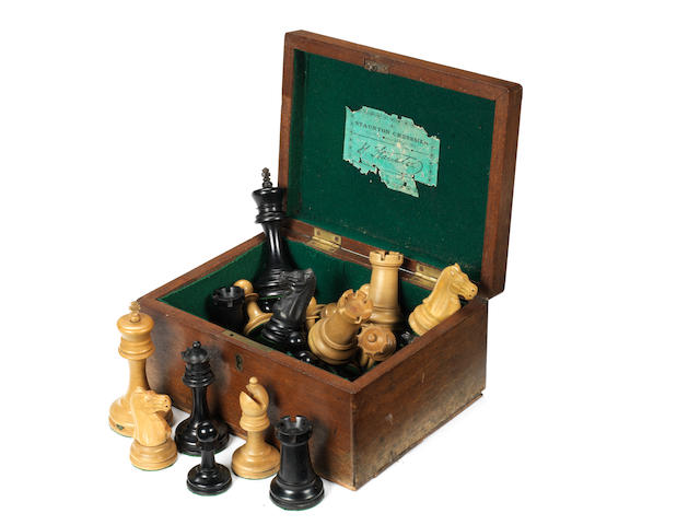 A Staunton boxwood and ebony weighted chess set, Jaques London, circa 1880-90,