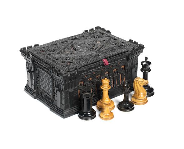 An early Staunton boxwood and ebony chess set, J. Jaques London, 1849-50,