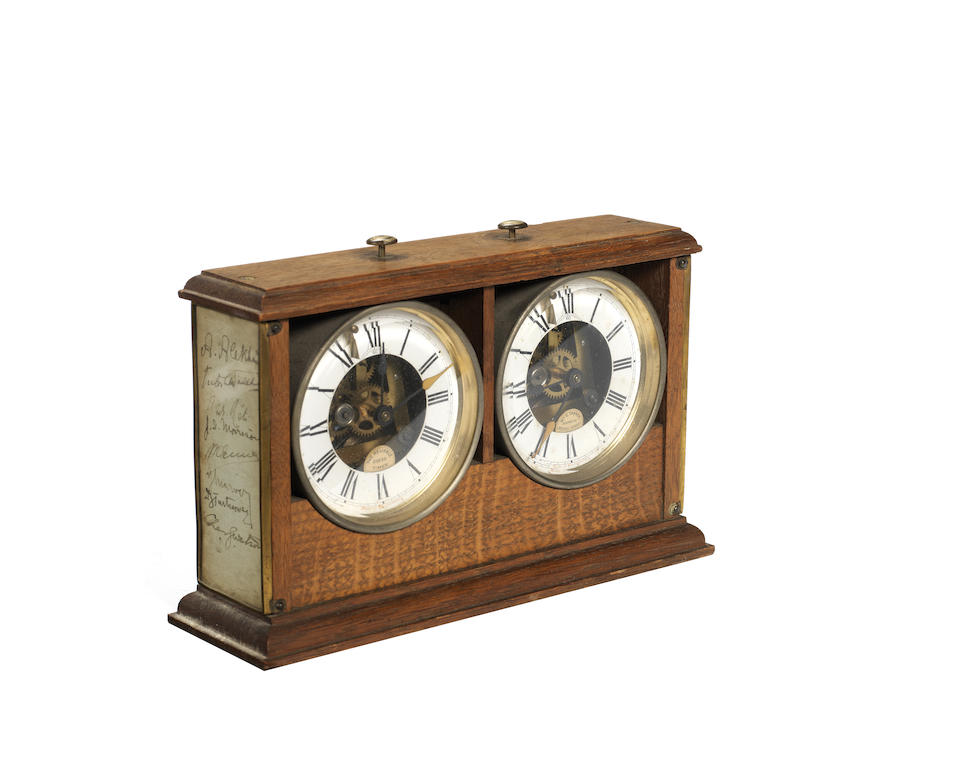 """A 1922 London Chess Tournament Commemorative Clock or Timer, """"The Reliable Chess Timer"""", Wurttemberg,"""